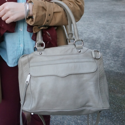 rebecca minkoff soft grey MAB bag worn on crook of arm | awayfromtheblue