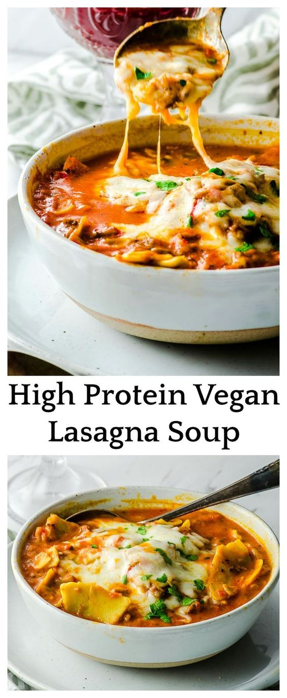 HIGH PROTEIN VEGAN LASAGNA SOUP #highprotein #vegan #veganrecipes #lasagna #lasagnarecipes #soup #souprecipes