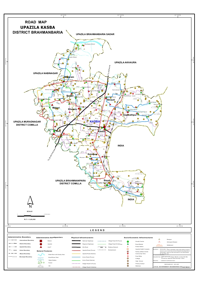 Kasba Upazila Road Map Brahmanbaria District Bangladesh