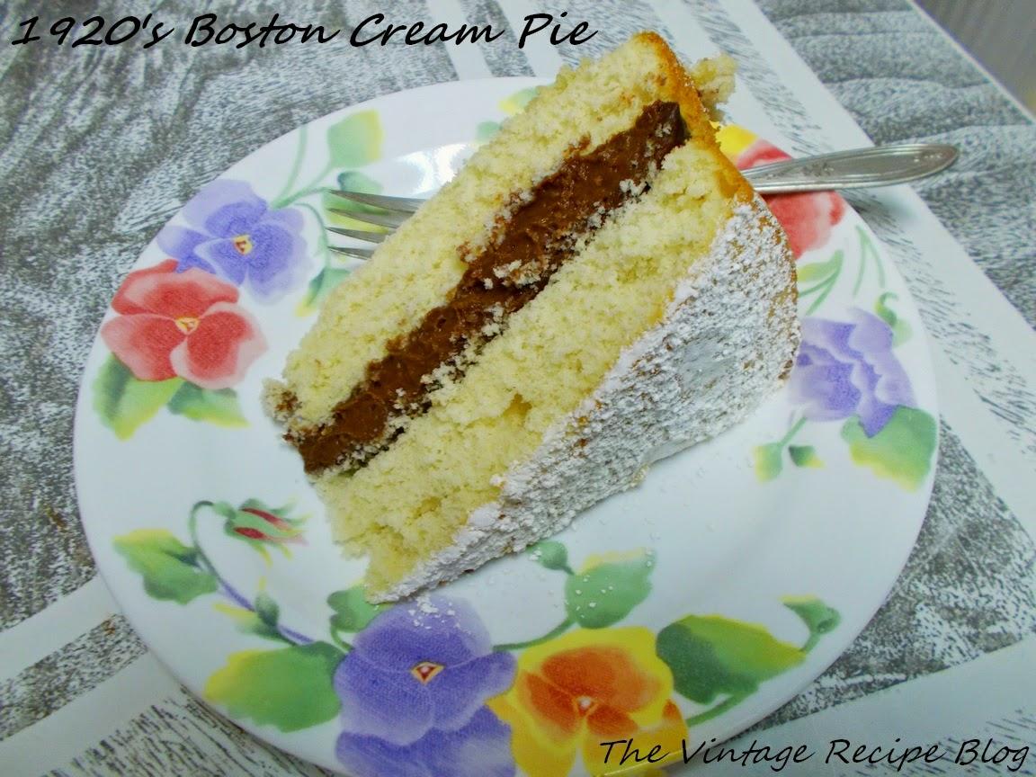 Boston Cream Pie, 1920 Recipe