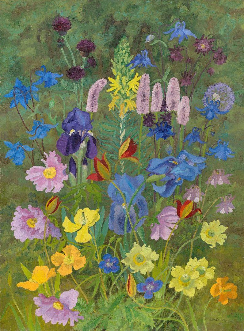 Iris, Welsh poppies, aquilegia and cornflowers. Cedric Morris, 1966. Iris, amapolas, aquilegia y centaurea
