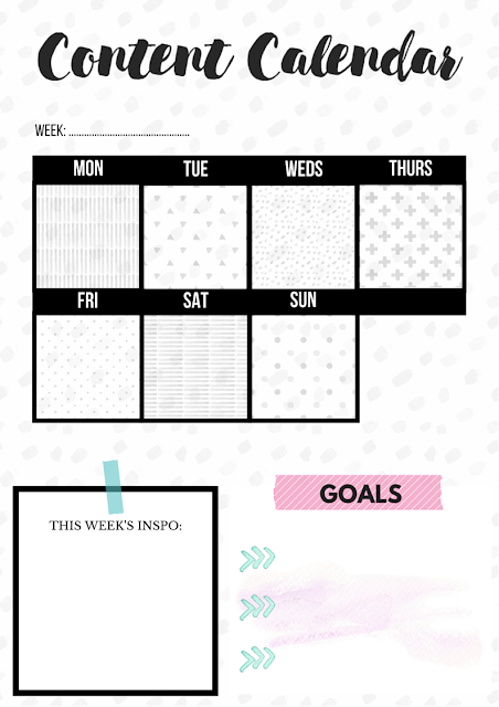 Free Printable Content Calendar for Bloggers, Downloadable Blog Planner
