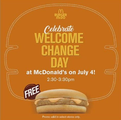 FREE Burger McDo on July 4
