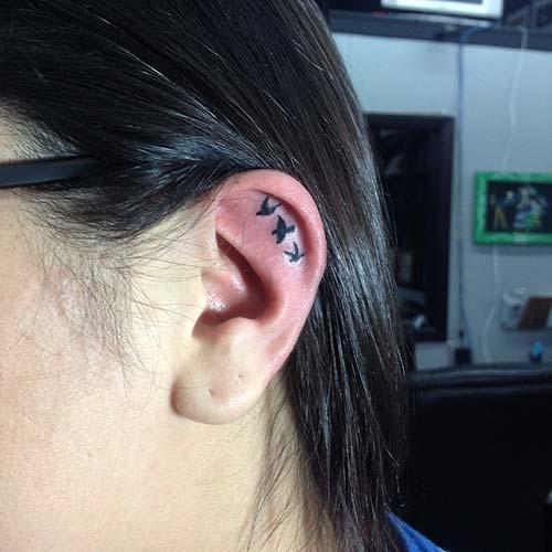kulak içi kuş dövmeleri inner ear bird tattoos