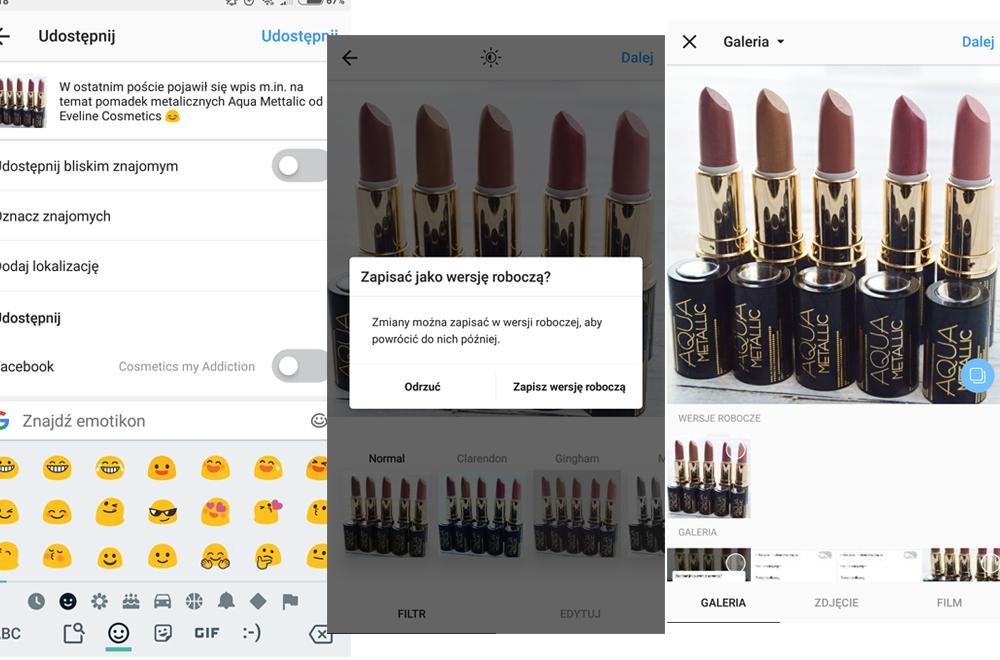 Wersje robocze postów na Instagramie