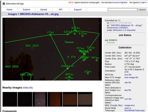 Astrometry.net screenshot showing RA and Dec for IMG3855 (Source: Palmia Observatory)