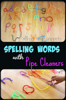 spelling practice with pipe cleaner letters