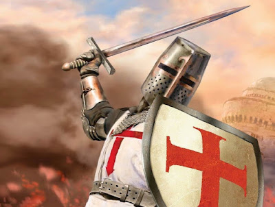 Prajurit Templar zirah dan pedang perang Salib