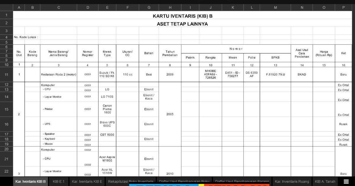 Format Laporan Inventaris Barang Format Excel Berkas Sekolah
