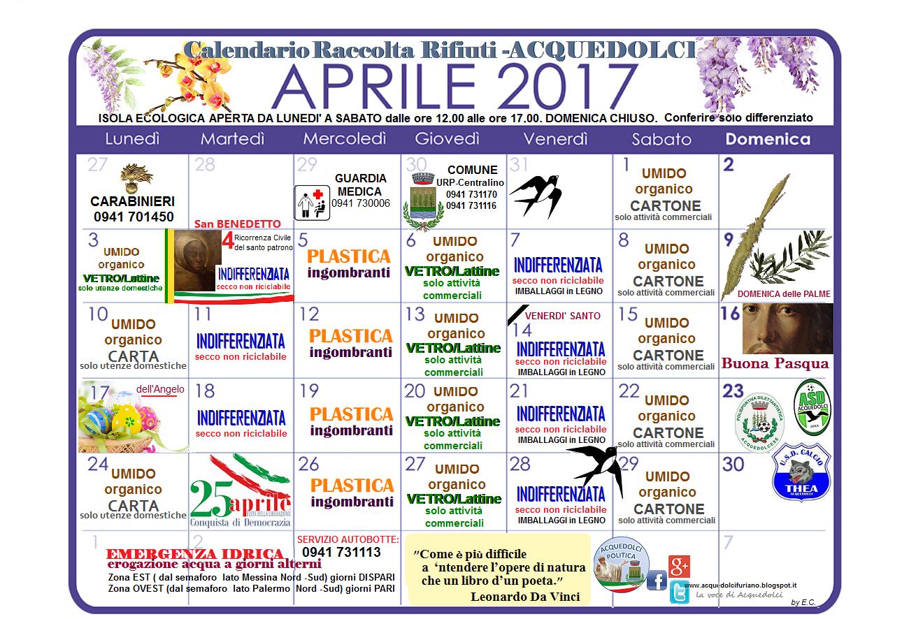 Calendario Raccolta Differenziata Sanremo.Raccolta Differenziata Il Calendario Del Mese Di Aprile