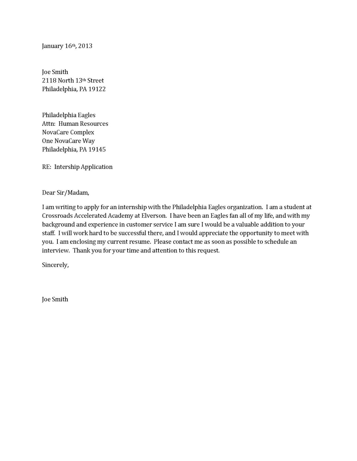 cover letter example for