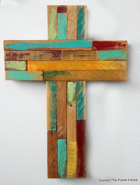 reclaimed wood, rustic cross, lathe, Easter decor, http://bec4-beyondthepicketfence.blogspot.com/2016/02/reclaimed-wood-crosses.html