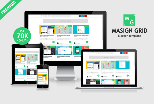 Masign Grid Premium Material Design Blogger Template