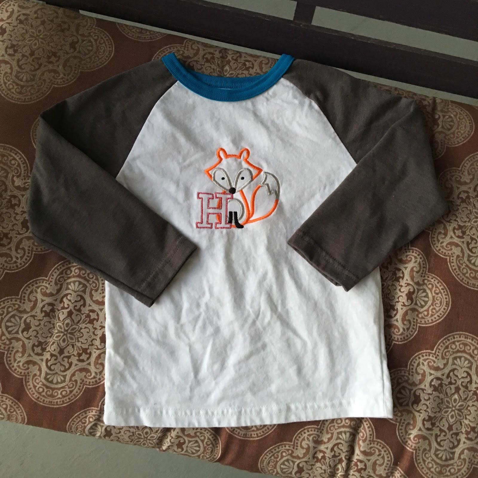 Marla, Plain and Small: Embroidered Fox Raglan Tee