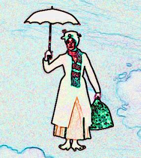 Mary Poppins boldog mosollyal az arcán, esernyőbe kapaszkodva lebeg a felhők között a kék égen, kezében táskával, nyakában sállal, fején kalappal.