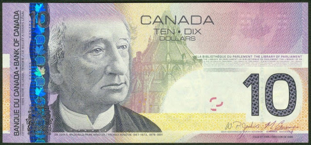 Canada Banknotes 10 Dollar Bill 2005 Sir John Alexander Macdonald the first Prime Minister of Canada