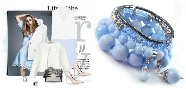 Błękitne i niebieskie komplet bransoletek z kamieni naturalnych, minerałów.