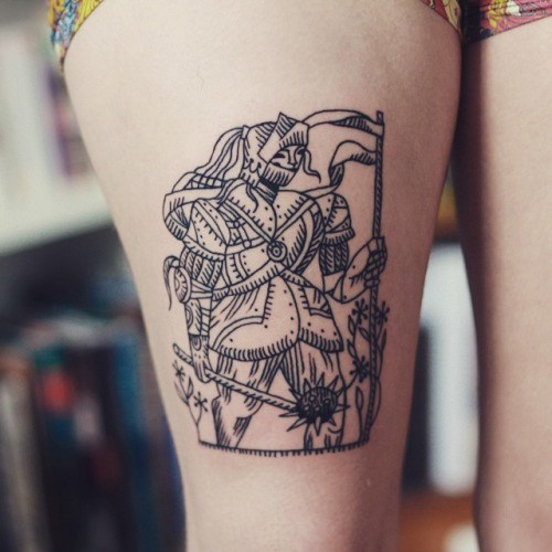 Sexy Thigh, Linework Tattoos For Girls