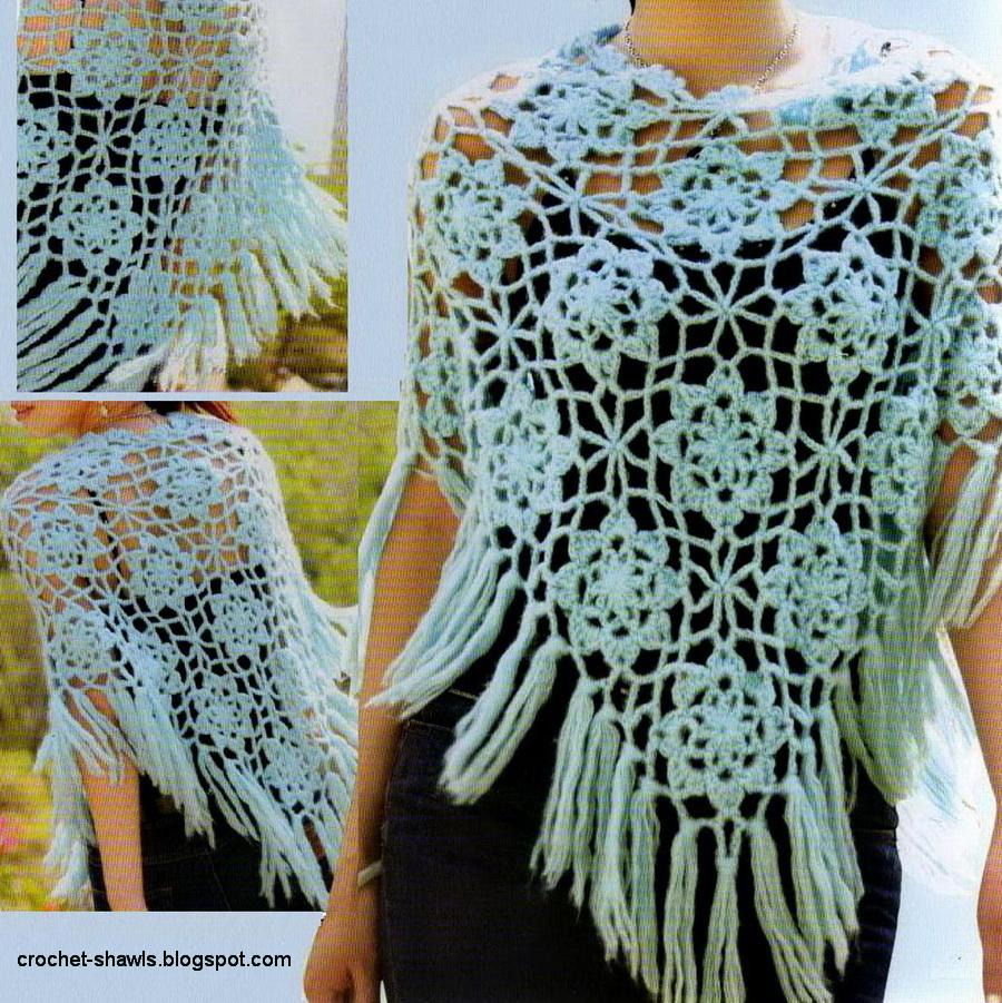 Free Crochet Patterns For Ponchos And Shawls : Crochet Shawls: Crochet Poncho For Spring - Free Pattern