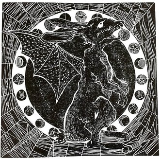 Carmen Wing : Werebatbunny - lino print
