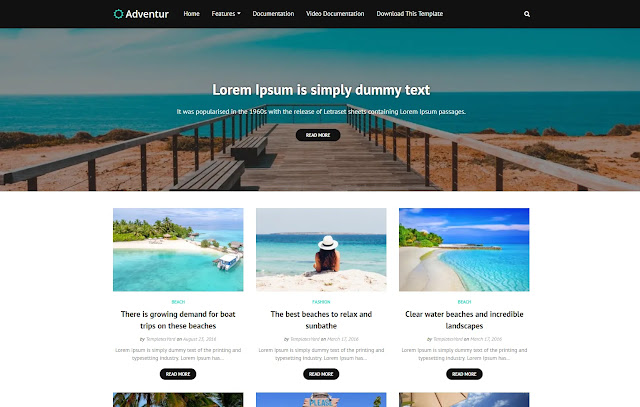Adventur Responsive Magazine Personal Blog Travel Blogger Template Theme