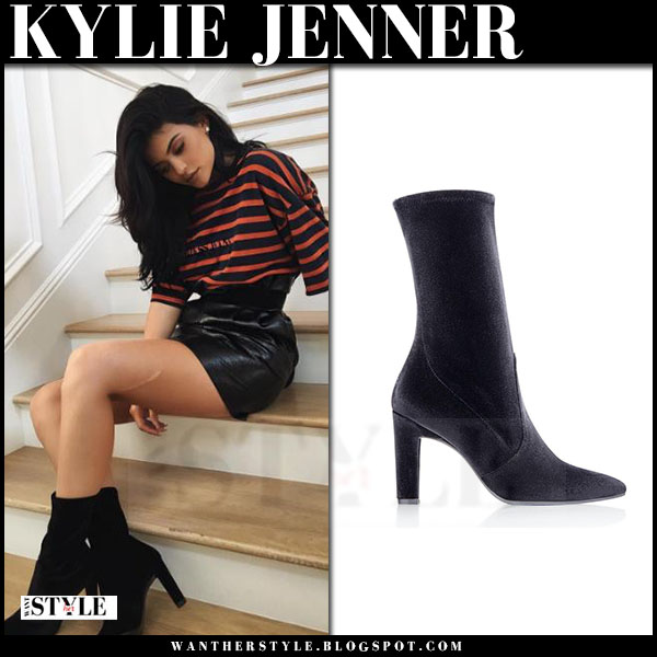 Kylie Jenner in striped t-shirt, black mini skirt and black ankle boots stuart weitzman clinger what she wore