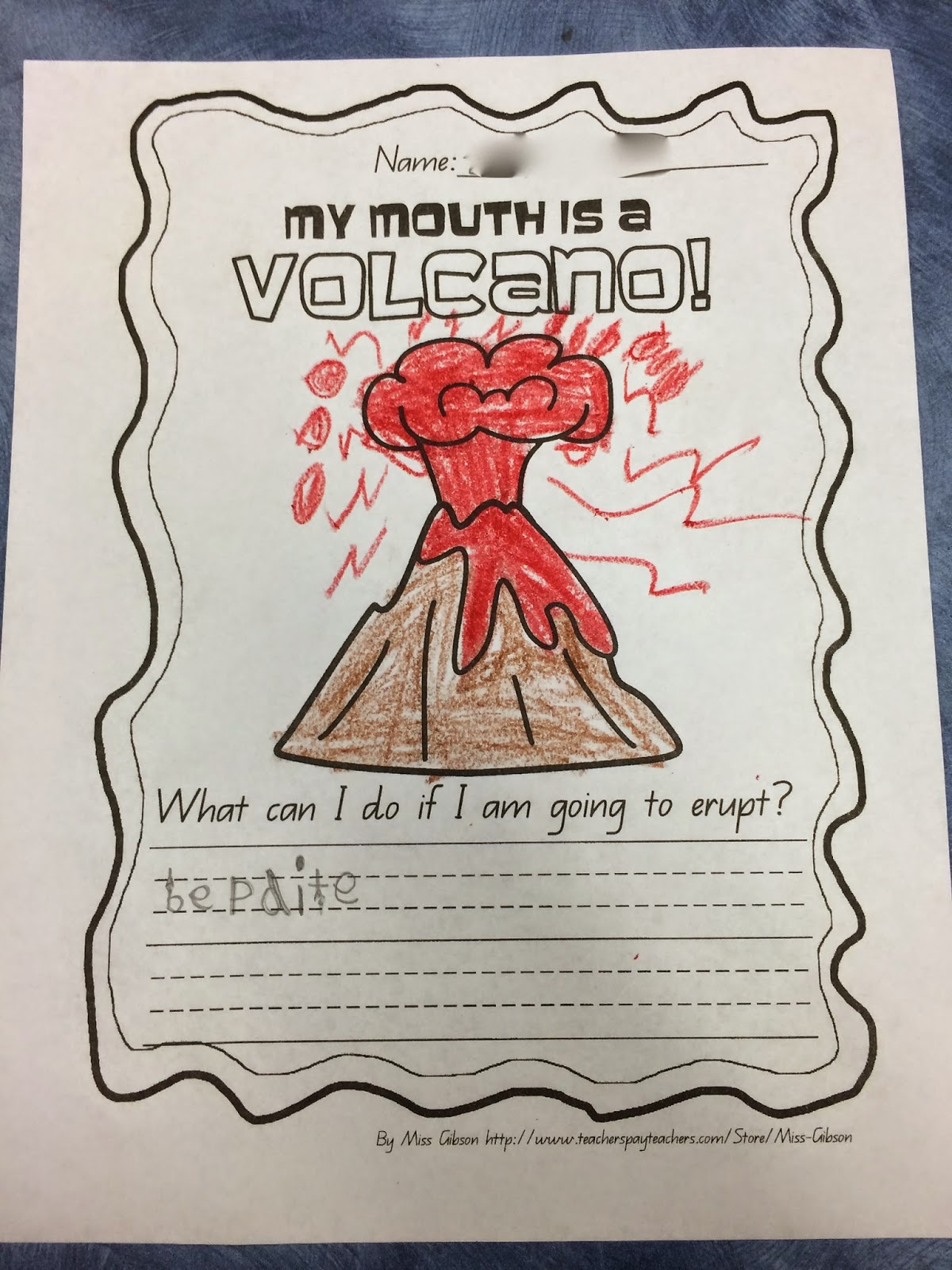 My mouth is a volcano writing activity for kindergarten