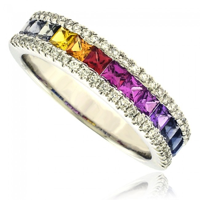 rainbow multicolor channel ring gemstone engagement white gold rings set diamond carat sapphire pin