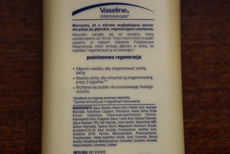 Vaseline, Intensive Care™, balsam do ciała, Essential Healing, skład