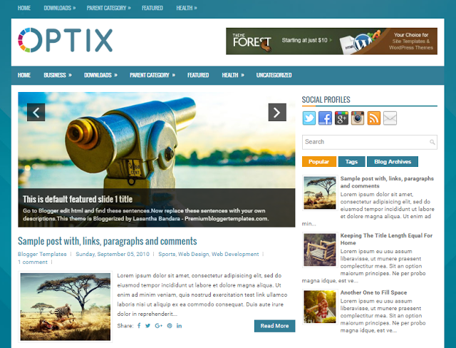Optix Free Blogger Theme
