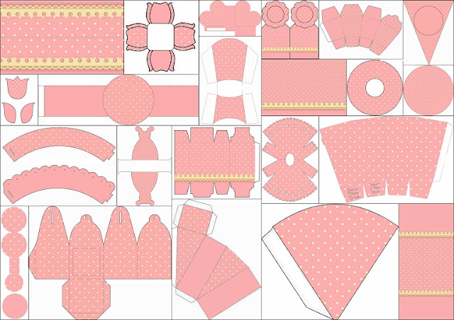 Yellow, Pink and Polka Dots Free Printable Kit.