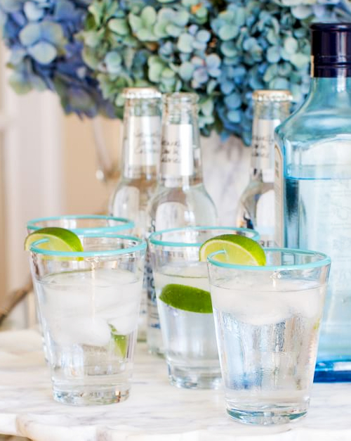 Blue Rim Drinking Glasses
