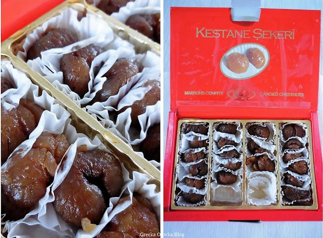 tureckie słodycze, w pudełku słodkie kasztany