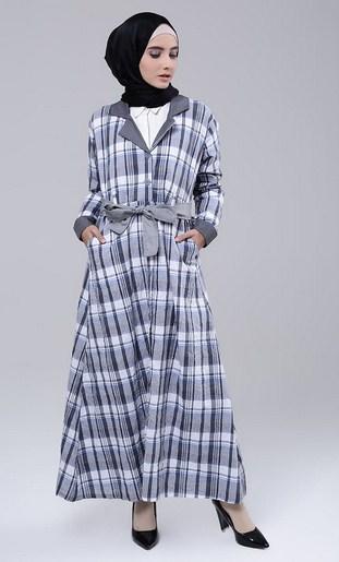 Inspirasi Model Baju Muslim Gamis Modern Motif Kotak Kotak Untuk