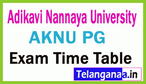 Adikavi Nannaya University AKNU PG Exam Time Table