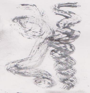 Gambar Teknik Sketsa Murni kombinasi tinta Oi, minyak tanah di atas kertas