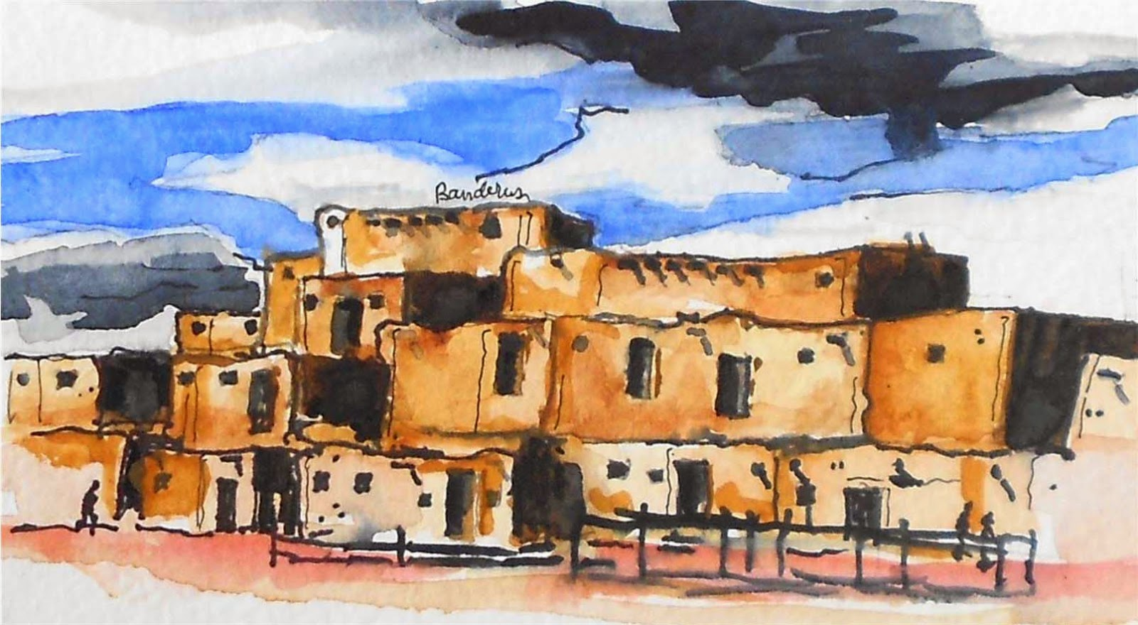 Terry 39 s ink and watercolor artwork for Adobe home builders