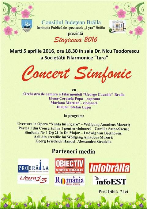 Marti, 5 aprilie, Concert simfonic la Lyra