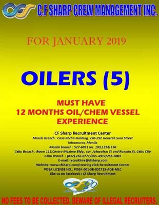 Hiring Oiler (5x) Join Onboard January 2019 - Seaman jobs