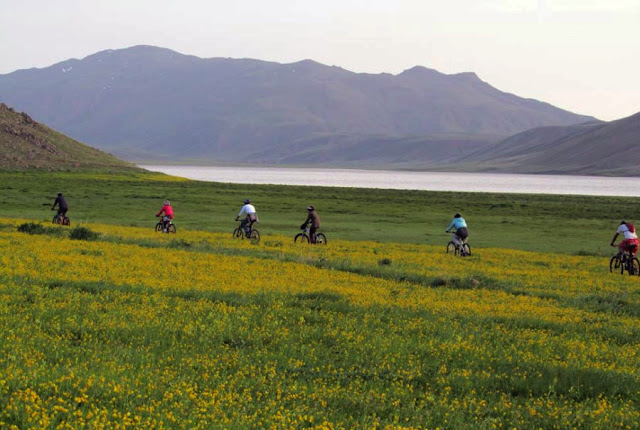 biking around Neor Lake. Ardebil-Iran