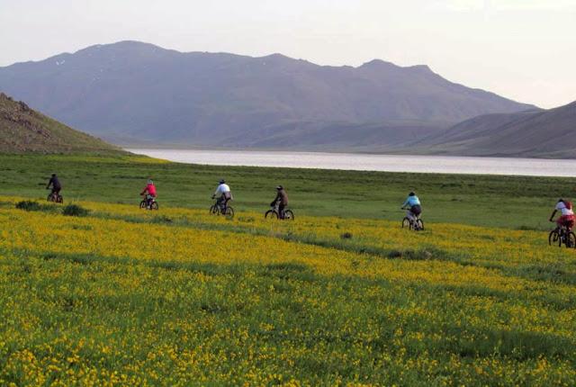 biking around Neor Lake. Ardebil-Iran