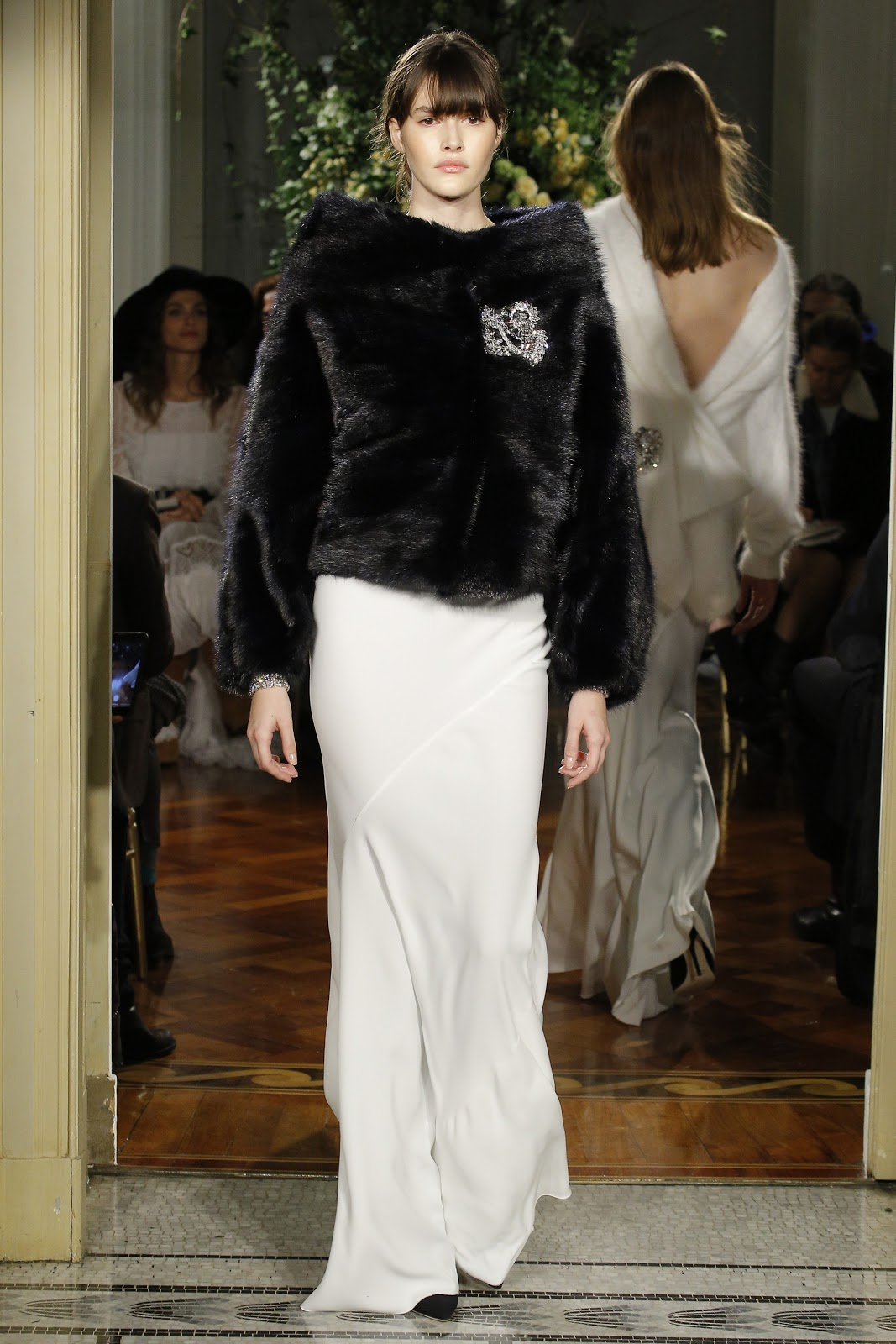 black fur and white skirt Evening Dresses