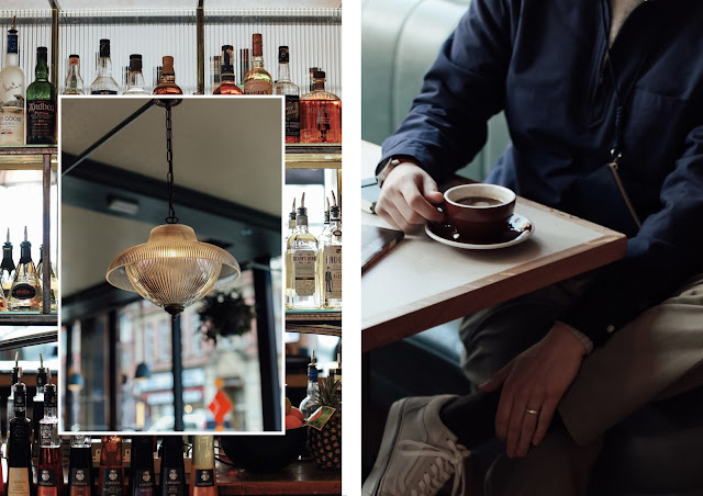 mat buckets at the patron bar in manchester wearing mr porter beams