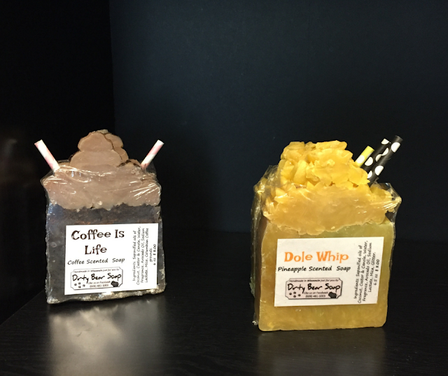 Dirty Bear Soap's fun Coffee Is Life and Dole Whip varieties.