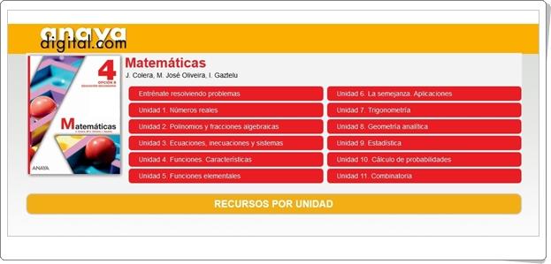 """Anaya Digital: """"Matemáticas de 4º de Secundaria"""""""