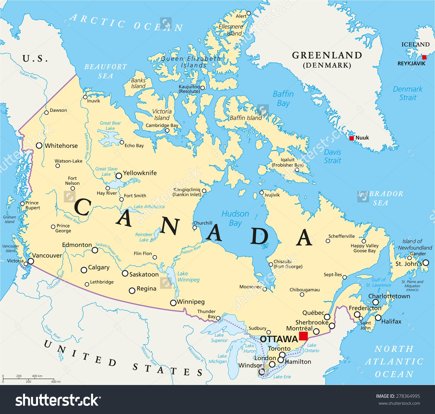 Blank Map of Canada | Canada Map with Cities