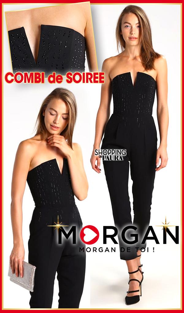 cce91a84c8 Combinaison pantalon femme bustier et strass noire MORGAN