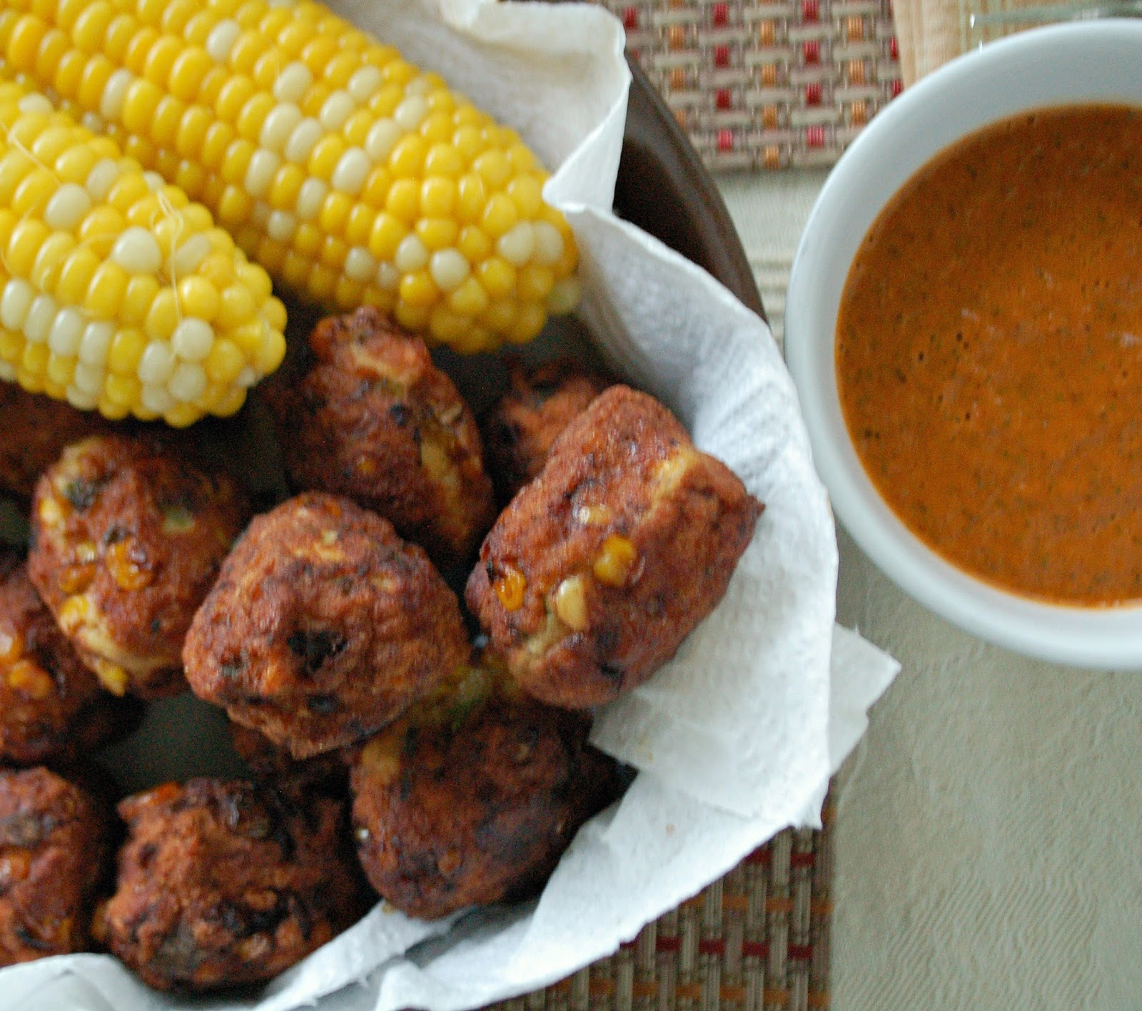 ... : Turkey and Corn Meatballs with a Roasted Red Pepper Dipping Sauce