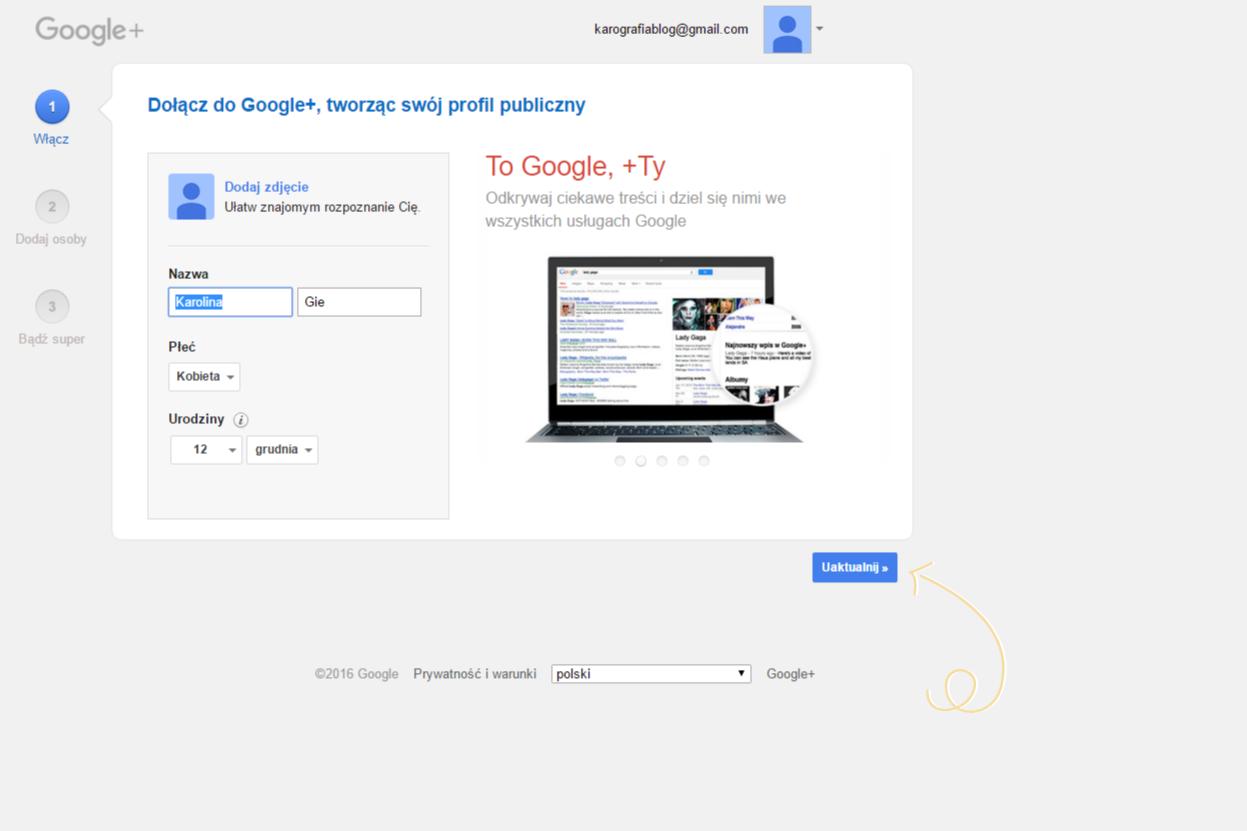 jak założyć profil google+ - twoje dane
