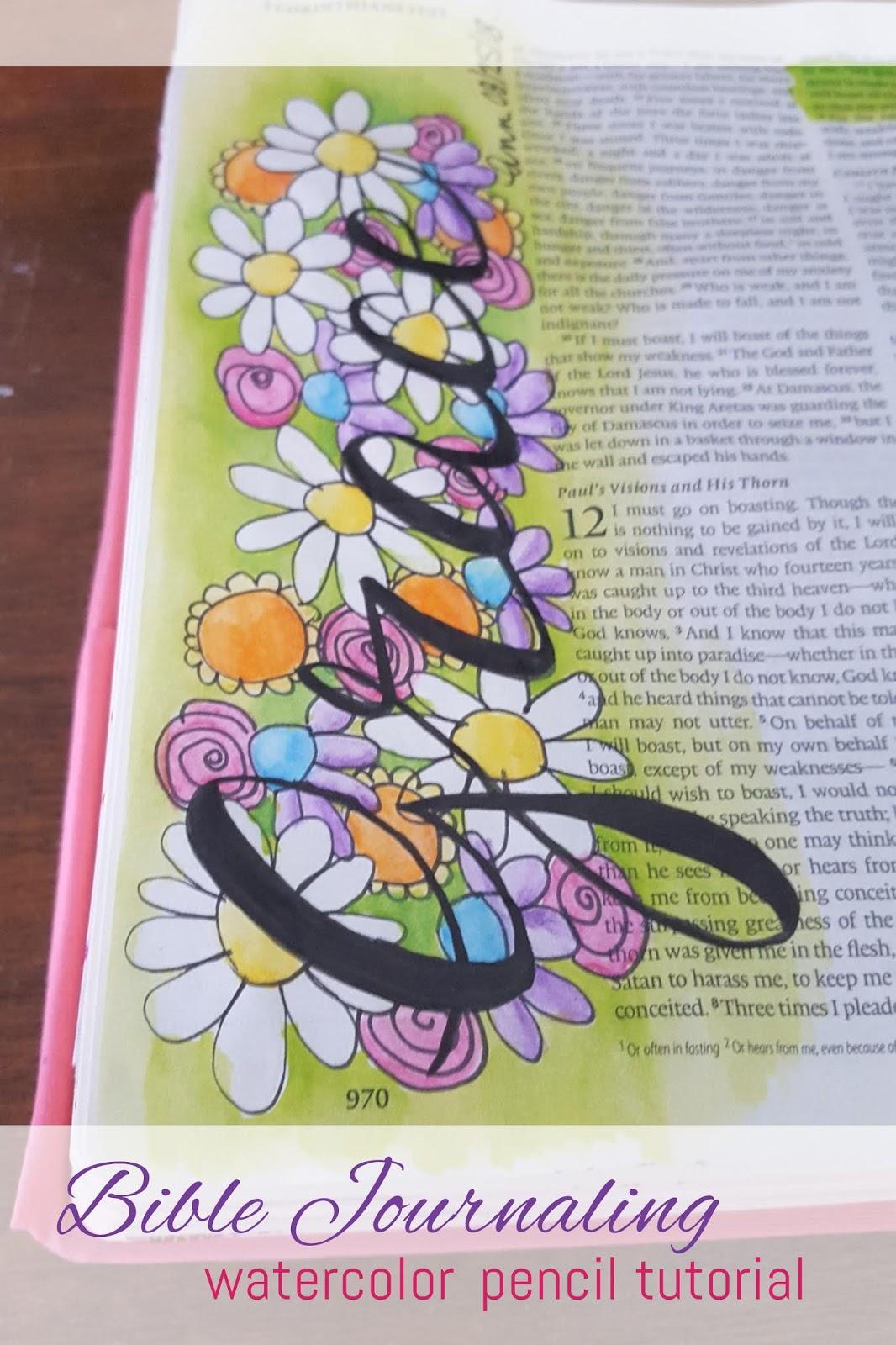 ann dreyer designs bible journaling grace watercolor pencil tutorial